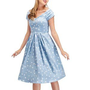 Dolly and Dotty Blue Polka Dot Off-Shoulder Dress